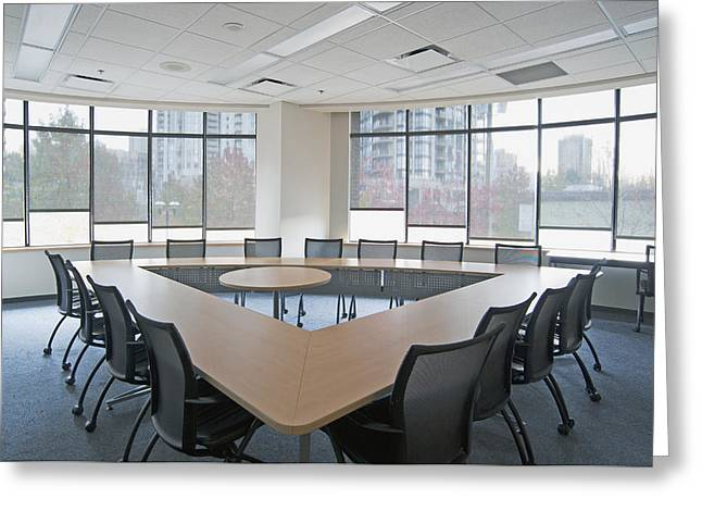 Large Empty Boardroom. A Long Narrow Greeting Card by Marlene Ford