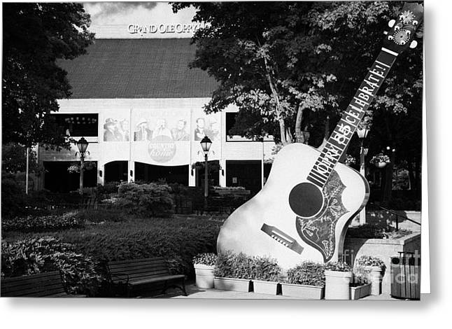 large guitar outside Grand Ole Opry House building Nashville Tennessee USA Greeting Card by Joe Fox