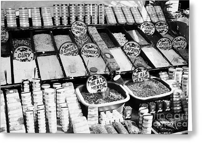 Large Range Of Various Spices Open And Packaged On A Stall At The Market In Nabeul Tunisia Greeting Card by Joe Fox