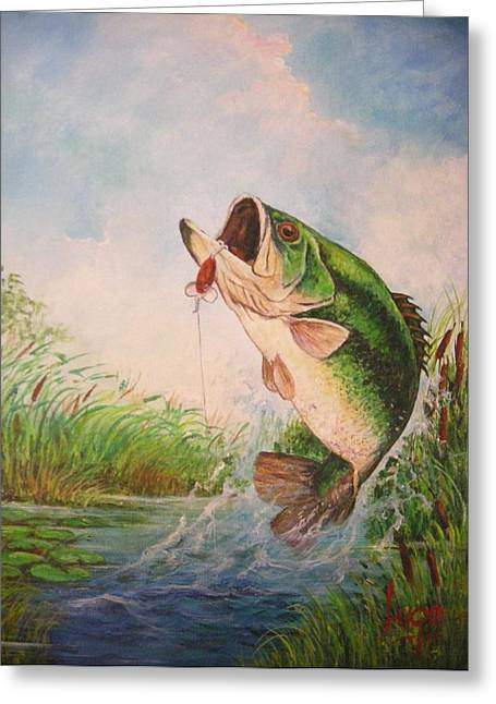 Largemouth Bass Greeting Card by Jose Lugo