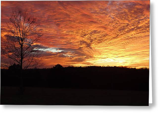 Greeting Card featuring the painting Lascassas Sunset Four by Carol Berning