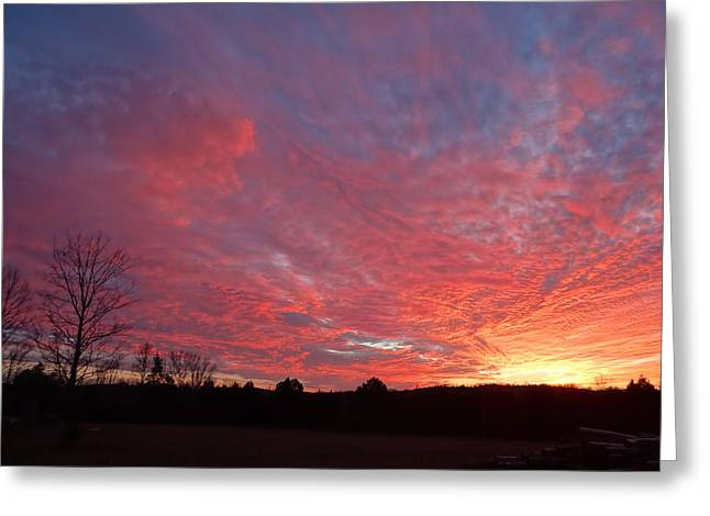 Greeting Card featuring the painting Lascassas Sunset One by Carol Berning