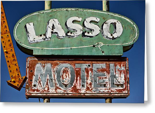 Lasso Motel On Route 66 Greeting Card by Carol Leigh