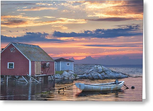 Randy Greeting Cards - Last Light at Peggys Cove Greeting Card by Randall Nyhof