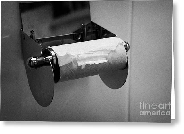Last Remaining Sheet Of Toilet Paper On A Toilet Roll Holder Greeting Card by Joe Fox