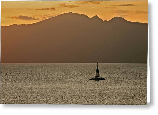 Late Afternoon Cruise In The Paniolo Channel Greeting Card by Kirsten Giving