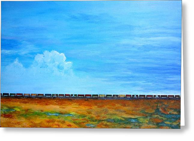 Late Afternoon Freight Train Greeting Card