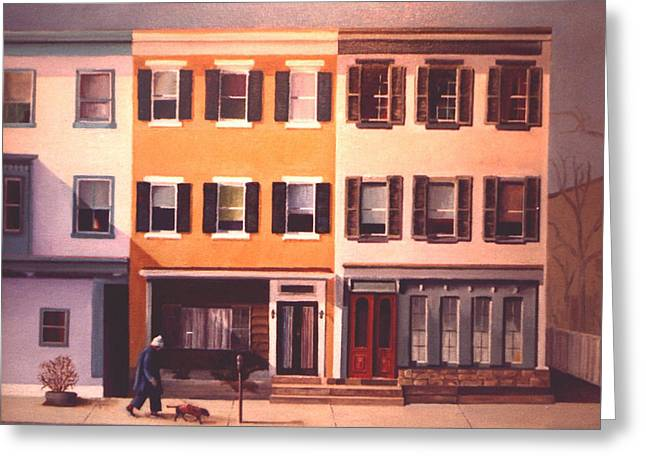 Greeting Card featuring the painting Late Afternoon On Church Street by Robert Henne