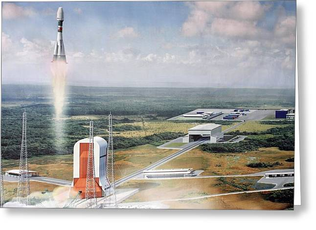 Launch Pad Model, Guiana Space Centre Greeting Card by Ria Novosti