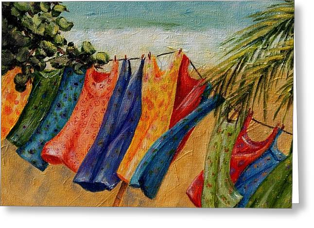Greeting Card featuring the painting Laundry Day At The Beach by Terry Taylor