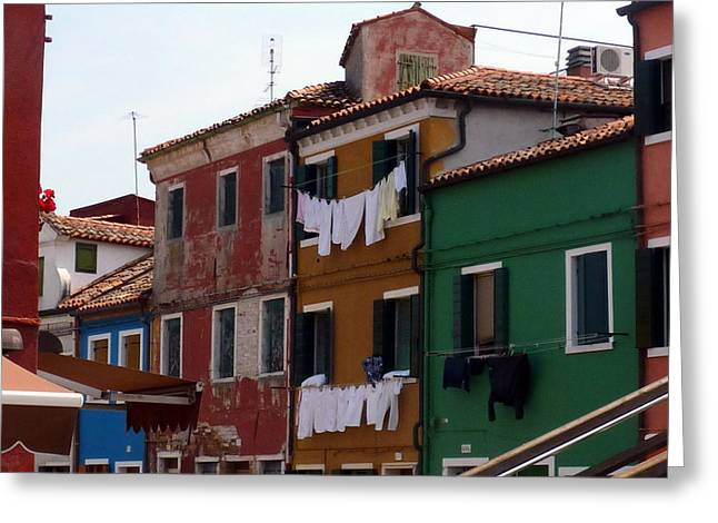 Laundry Day In Burano Greeting Card by Carla Parris