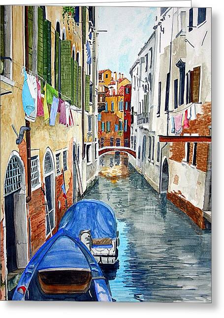 Greeting Card featuring the painting Laundry Day In Venice by Tom Riggs