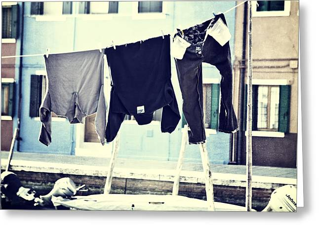 laundry on a clothes line in Burano - Venice Greeting Card