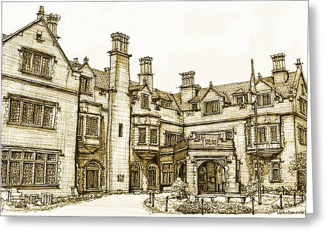 Laurel Hall In Sepia Greeting Card by Building  Art