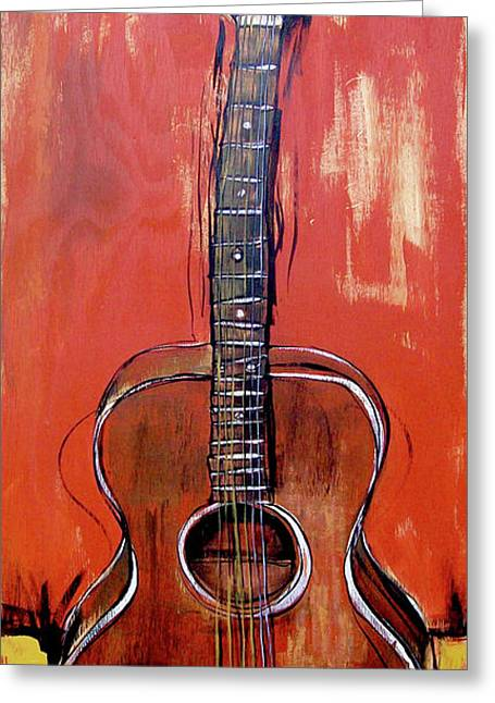 Greeting Card featuring the painting Laurelyn's Guitar by John Gibbs