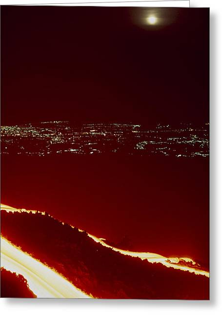 Lava Flow At Night Greeting Card by Dr Juerg Alean