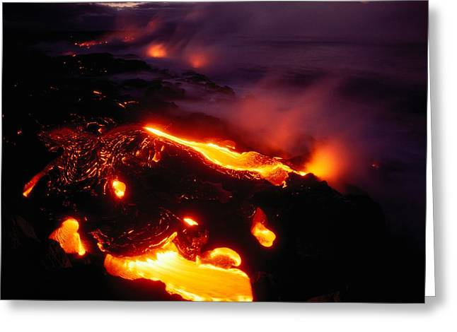 Lava From Kilauea Swirls Before Flowing Greeting Card by Chris Johns