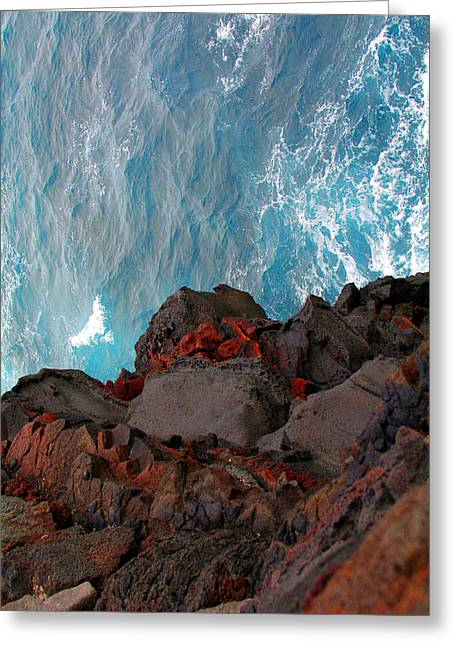 Lava Rocks And Ocean Water Greeting Card by Jennifer Bright