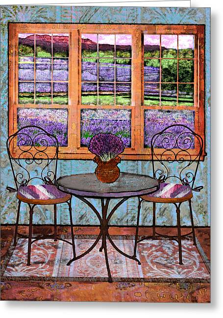 Lavender Bistro Greeting Card by Mary Ogle