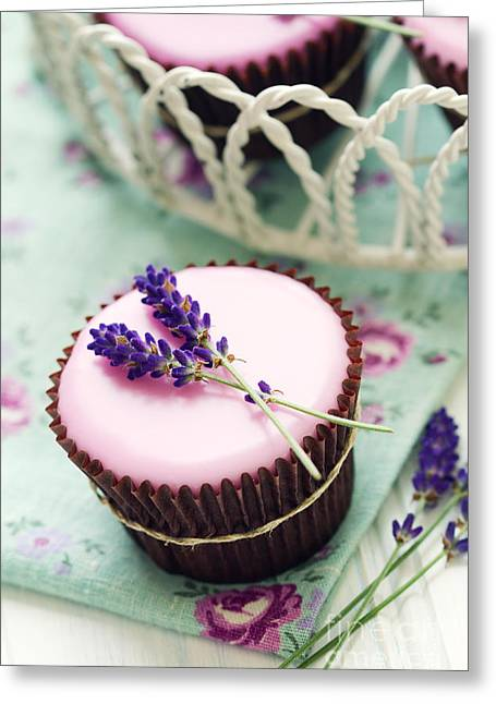 Lavender Cupcakes Greeting Card by Ruth Black