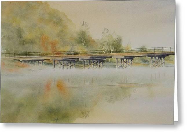 Lavenders Bridge - Bellingen Greeting Card by Carol McLagan