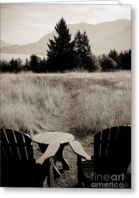 Lawn Chair View Of Field Greeting Card by Darcy Michaelchuk