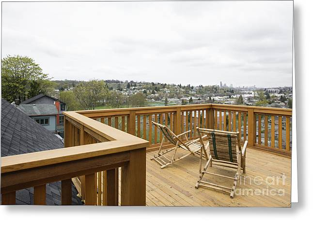 Lawn Chairs On Deck Greeting Card