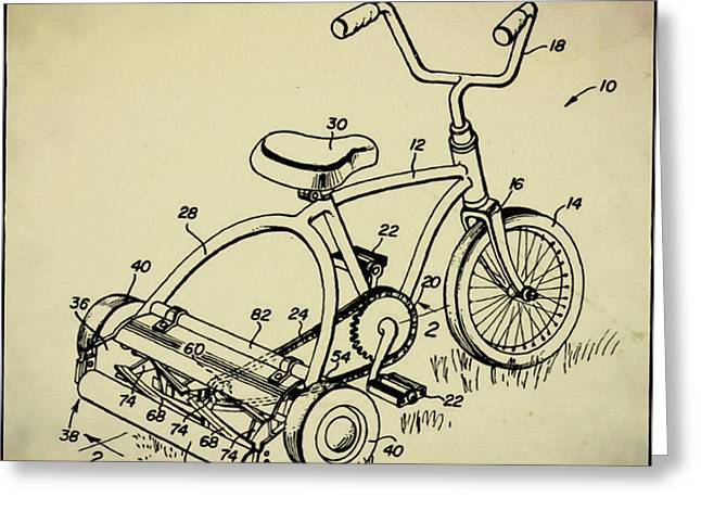 Lawnmower Tricycle Patent Greeting Card