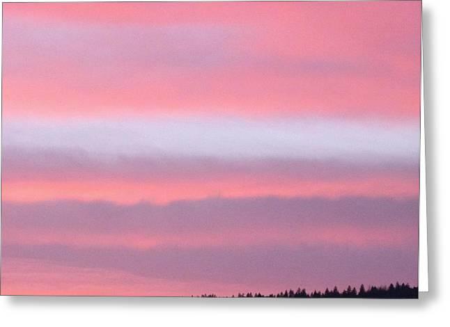 Layered Clouds At Sundown Greeting Card