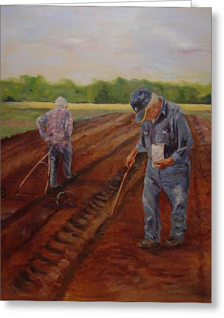 Greeting Card featuring the painting Laying Off Rows by Carol Berning