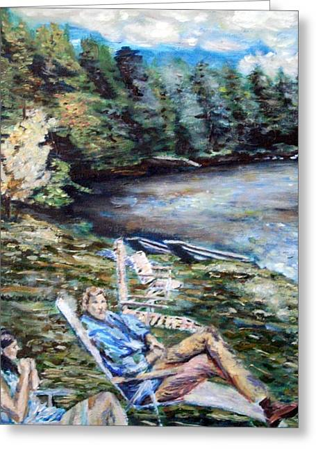 Lazy Day On The Mill Pond Greeting Card by Denny Morreale