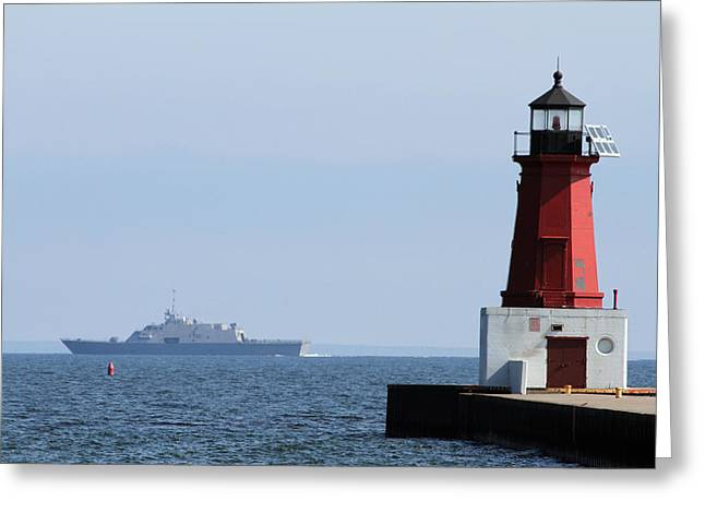 Greeting Card featuring the photograph Lcs3 Uss Fort Worth By The Menominee Lighthouse by Mark J Seefeldt