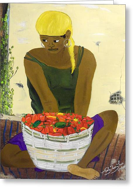 Le Piment Rouge D' Haiti Greeting Card by Nicole Jean-Louis