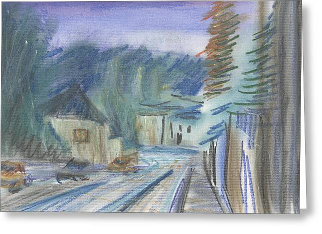 Greeting Card featuring the pastel Le Rue Saint Maur by Denny Morreale
