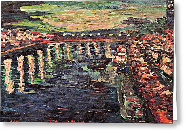 Le Seine De Nuit Greeting Card by Denny Morreale