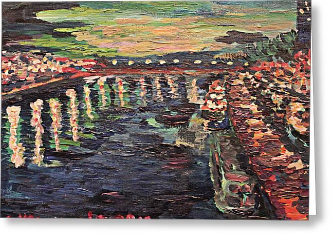 Le Seine De Nuit Greeting Card