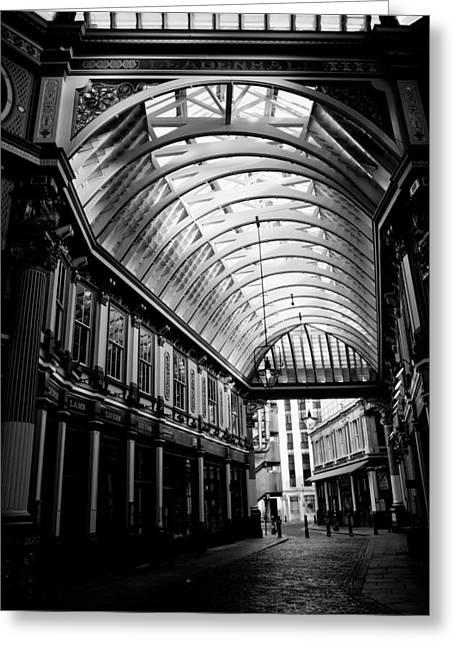 Leadenhall Market London Black And White Image Greeting Card by David Pyatt