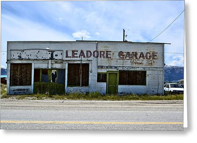Leadore Garage Greeting Card