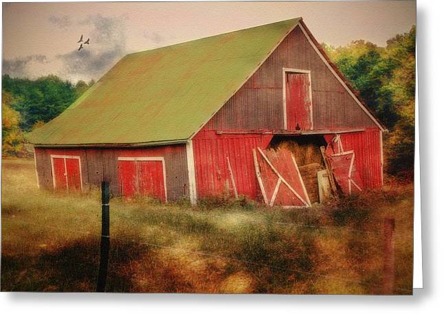 Lean To The Left Greeting Card by Mary Timman