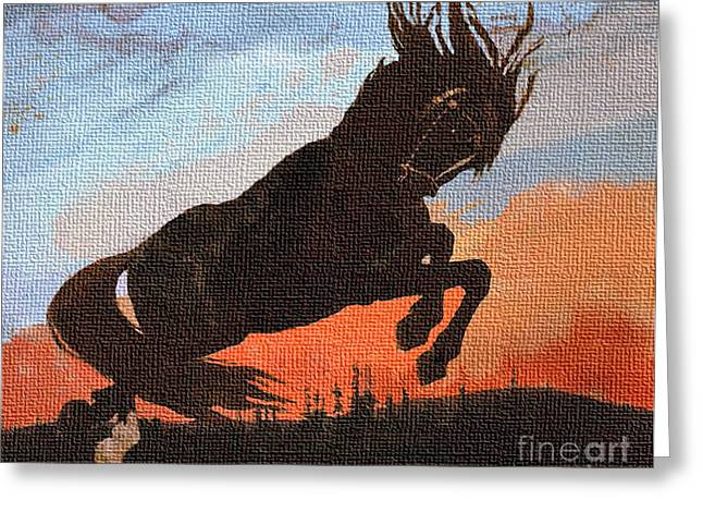 Leaping Black Horse Greeting Card by Jerry L Barrett