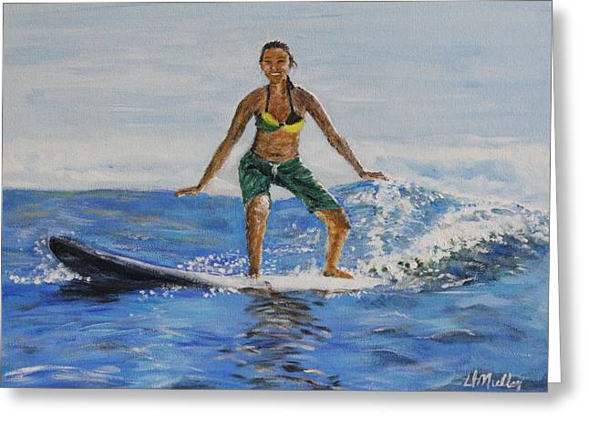 Learning To Surf Greeting Card by Donna Muller