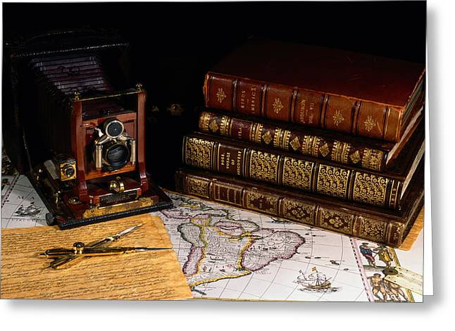 Leather Bound Books, An Old Camera Greeting Card