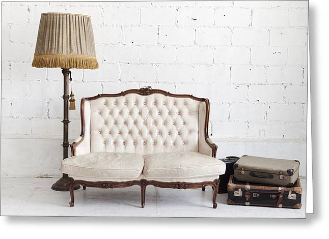 Leather Sofa In White Room Greeting Card