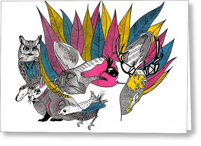 Leaves And Animals Greeting Card by JF Mondello