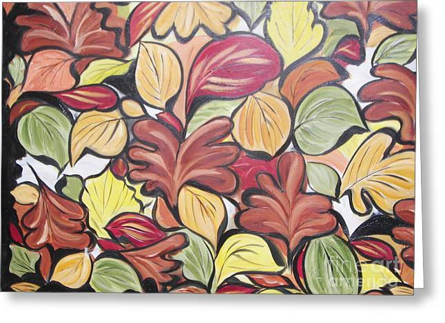 Leaves Of Autumn Greeting Card by Rachel Carmichael