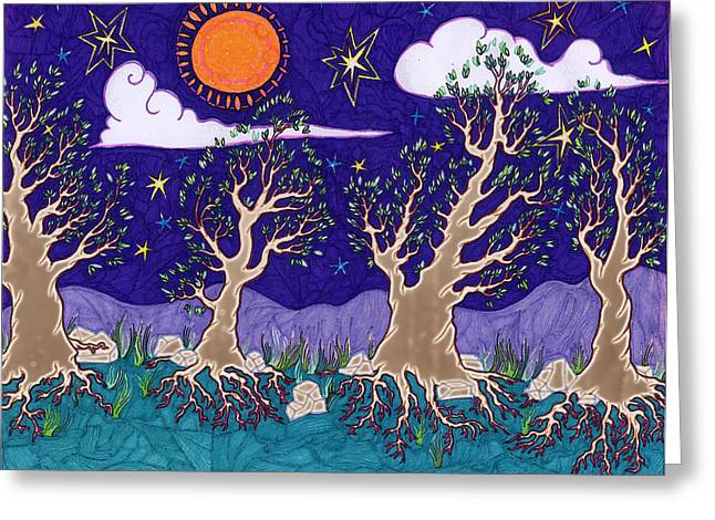Leaves Under Night Sky Greeting Card by James Davidson