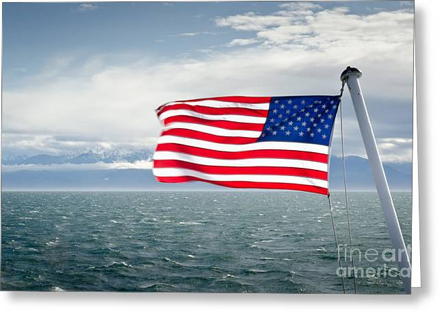 Leaving The Olympics Stars And Stripes On The Straits From The Olympic Mountains Greeting Card by Andy Smy