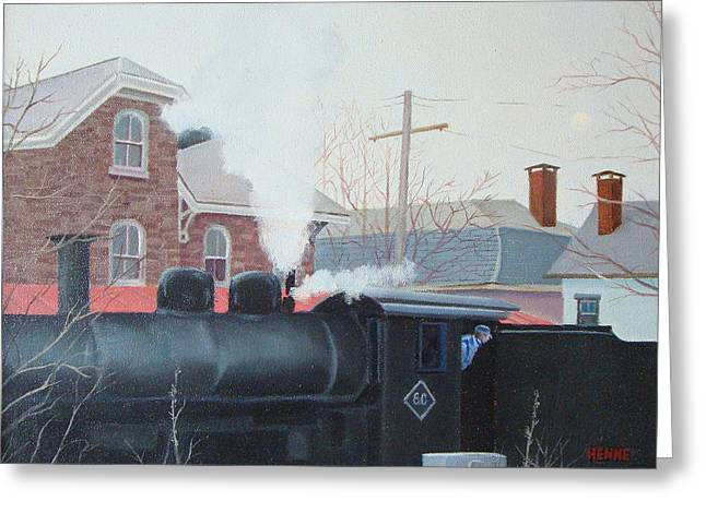 Greeting Card featuring the painting Leaving The Station by Robert Henne