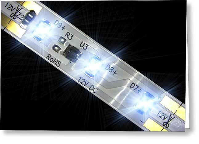 Led Light Strip, Macrophotograph Greeting Card by Pasieka