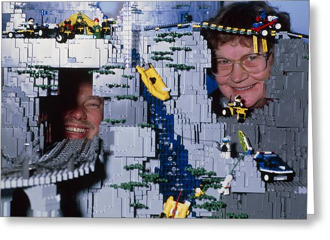 Lego Model And And Its Constructors Greeting Card by Volker Steger